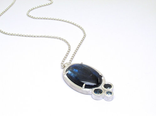 Kyanite Pendant With Blue Sapphire Accent Stones