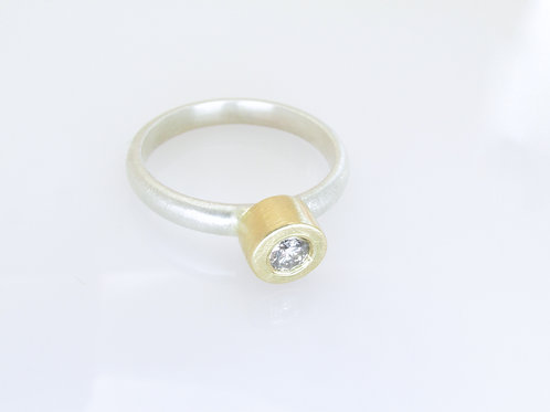Diamond Solitaire Ring In Sterling Silver And 18K Yellow Gold
