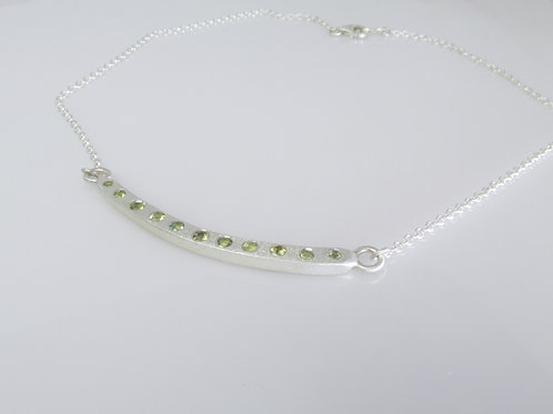 Forged Bar Necklace With Sapphires