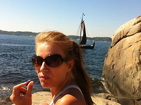Hege Myhre in her hometown Sandefjord, Norway watching Viking Ships Sailing Parade