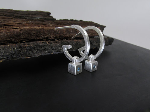 Modern Hoop Earrings With Removable Cube Charms