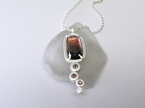 Tourmaline Pendant With Pink And Tan Accent Stones