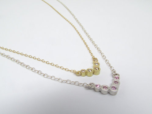 Chevron Necklace With Pink Sapphires