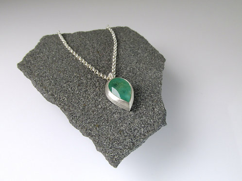 Pear Shaped Emerald Pendant In Sterling Silver