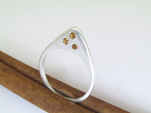 Spear Tip Ring With Sapphires