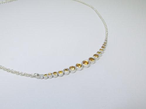 Crescent Moon Bar Necklace With Peach Ombré Sapphires