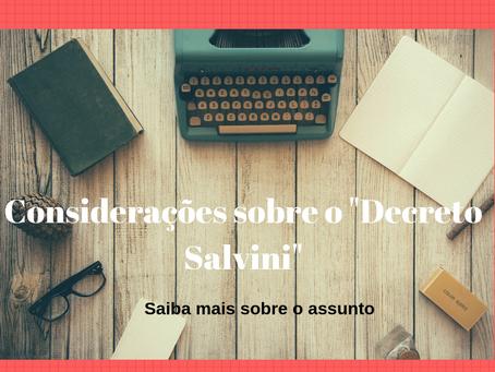"""Comentários sobre o """"Decreto Salvini"""""""
