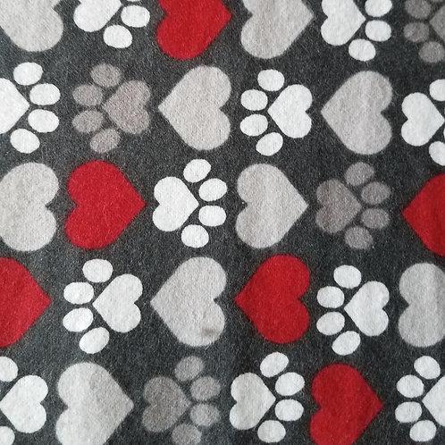 Medium Dog Cone-Red Hearts Grey Hearts
