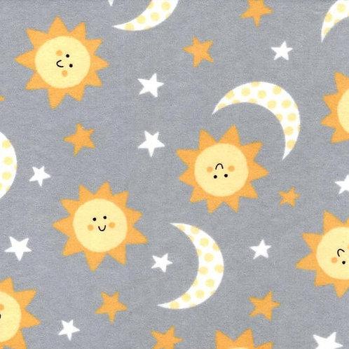 Medium Dog Cone- Suns and Moons on Grey