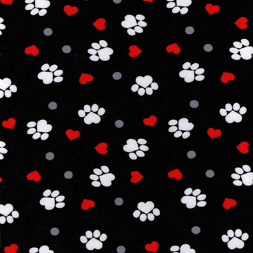 XXL Dog Cone-Black with Hearts and Paw Prints