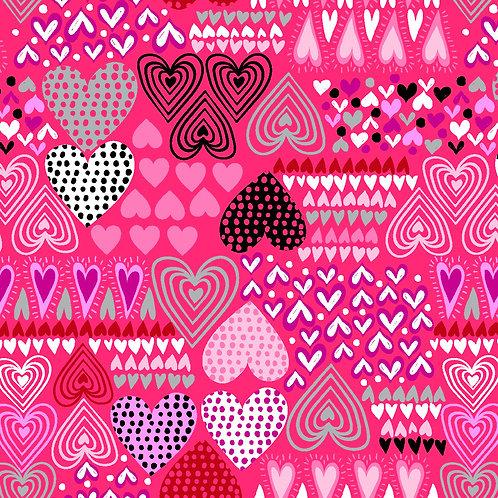XL Dog Cone-Hearts Patterns