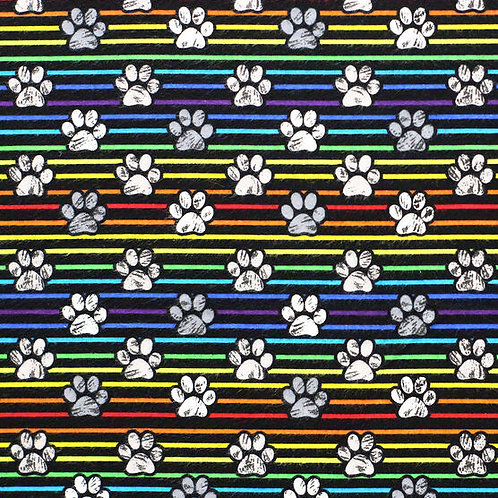 XXL Dog Cone-Sketched Paws Rainbow Stripes