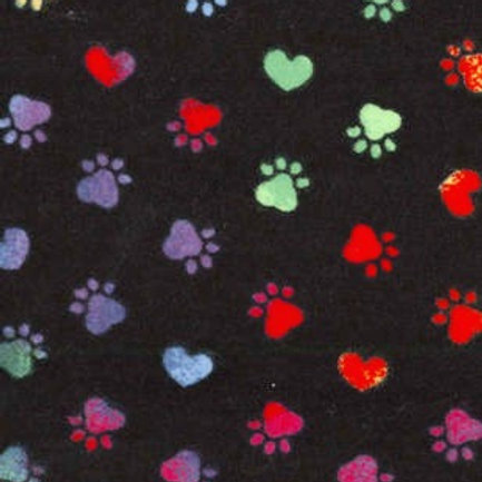 Medium Dog Cone-Black with Multi-Colored Heart Paws
