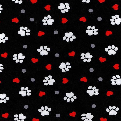 Small Dog Cone-Black with Red Hearts White Paws