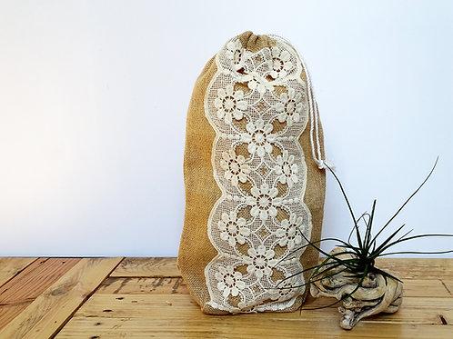 Sac emballage réutilisable en guipure ancienne