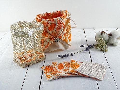 7 lingettes démaquillantes lavables dans leur pochon origami
