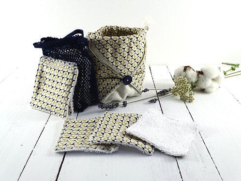 10 lingettes démaquillantes lavables dans leur pochon origami