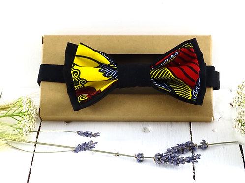 Nœud papillon double en wax et coton