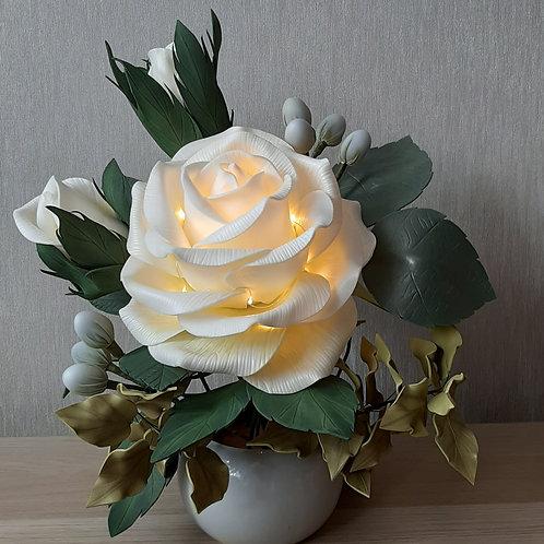 Ночник Букет с бело-оливковой розой