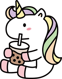 Unicorn drinking uni uni boba tea