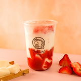 Strawberry fresh milk w/ vanilla pudding