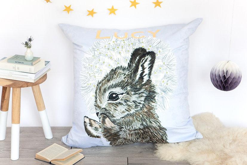 Rabbit and Dandelion Velvet Bean Bag