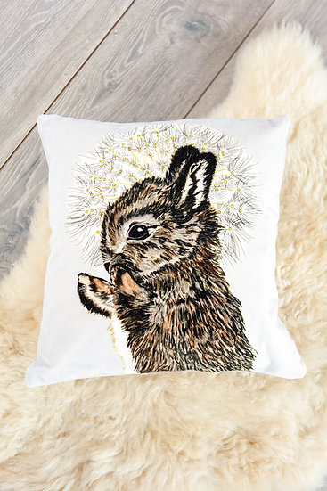 Velvet Rabbit and Dandelion Luxury Cushion