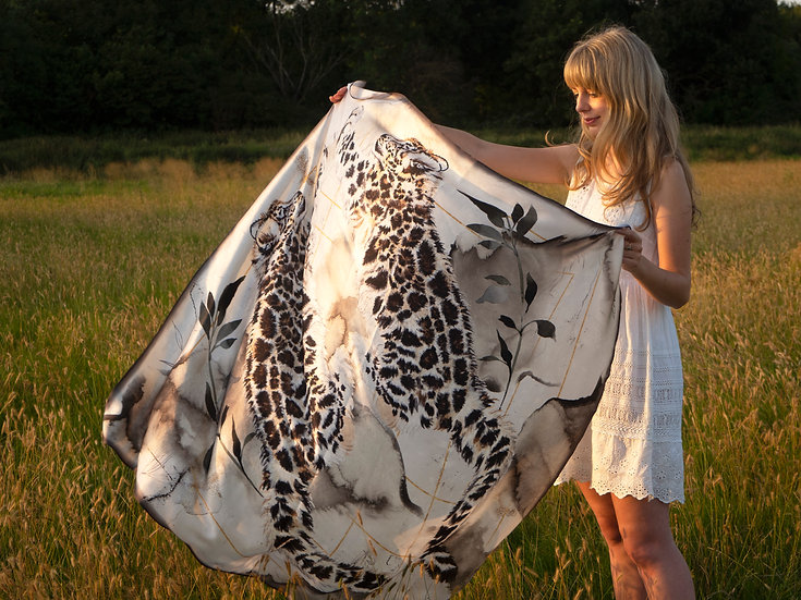 Snow Leopard Silk Scarf