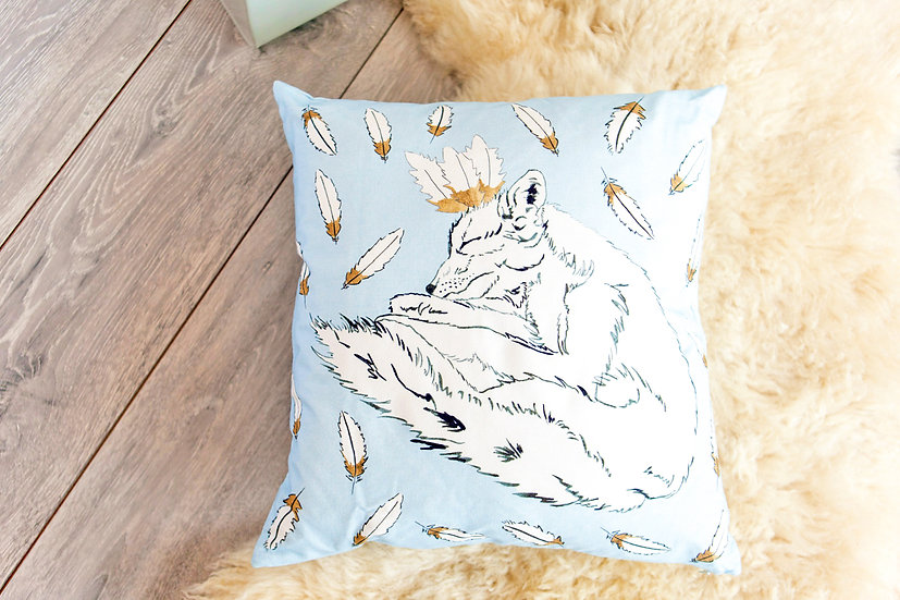 Feathered Fox Cotton Cushion Cover