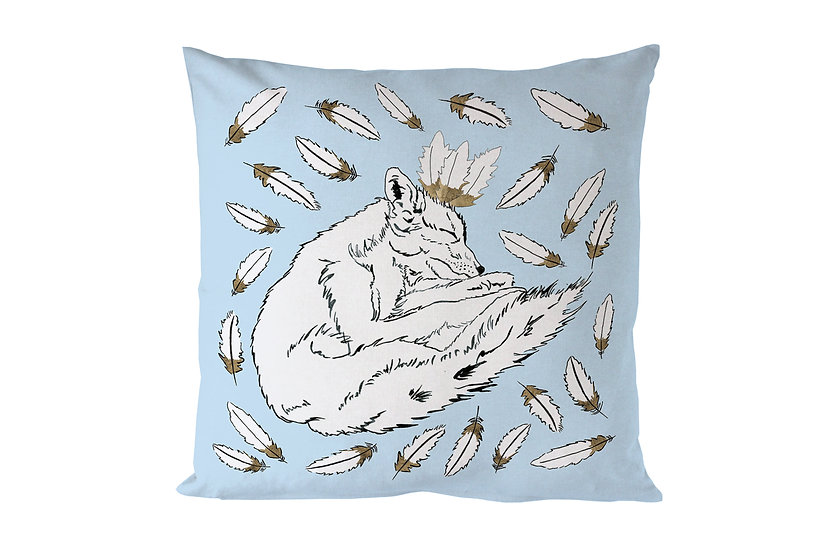 Feathered Fox Cotton Cushion
