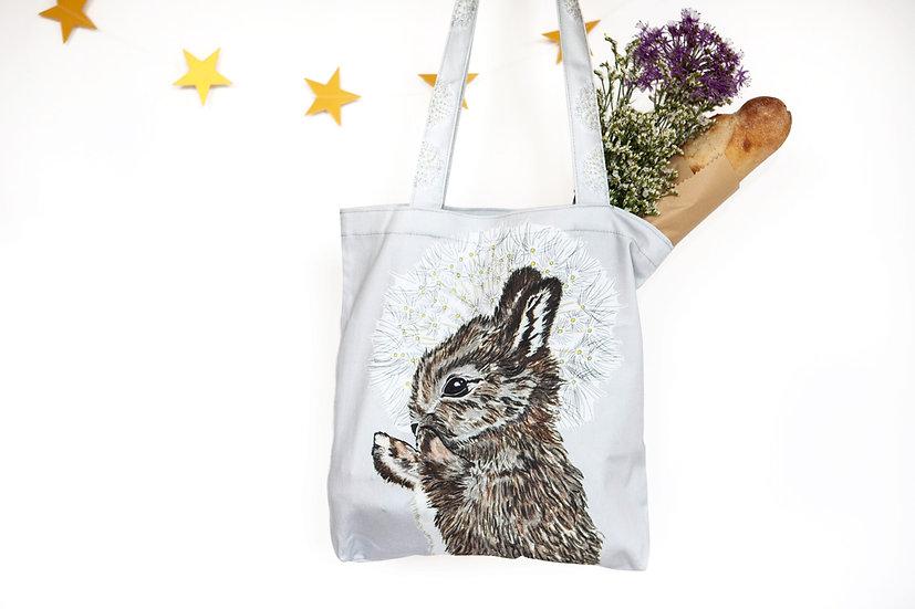 Rabbit and Dandelion Tote Bag
