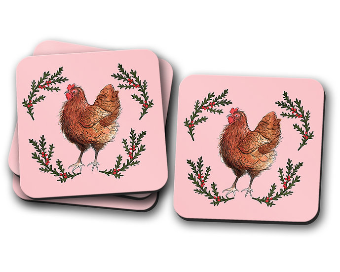 Mrs Hen Coasters