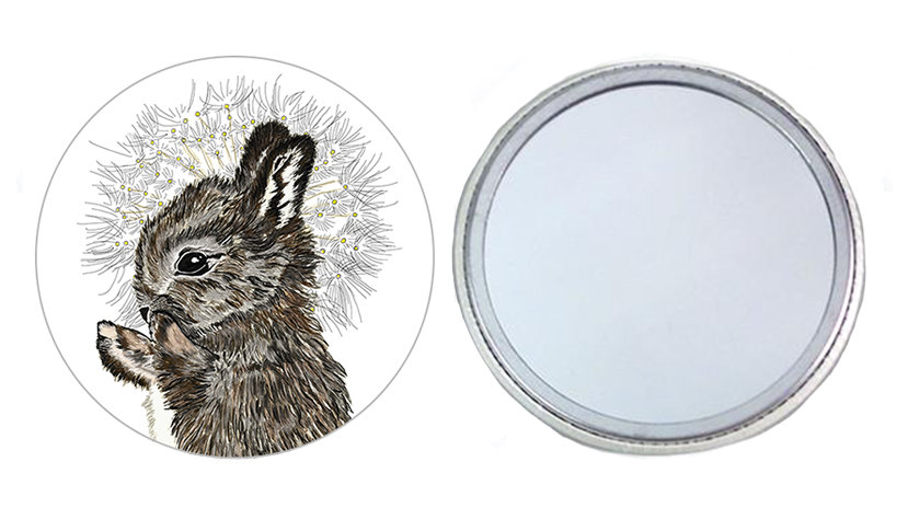 Rabbit and Dandelion Pocket Mirror