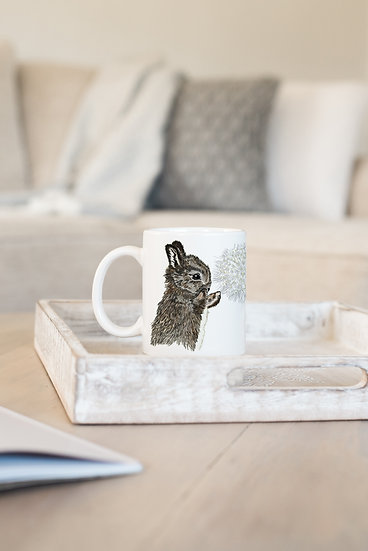 Rabbit and Dandelion Bone China Mug