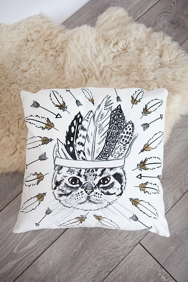 Velvet Tabby Cat Cushion Cover