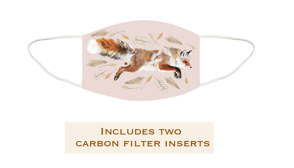 Reusable Washable Face Mask - Pink Fox