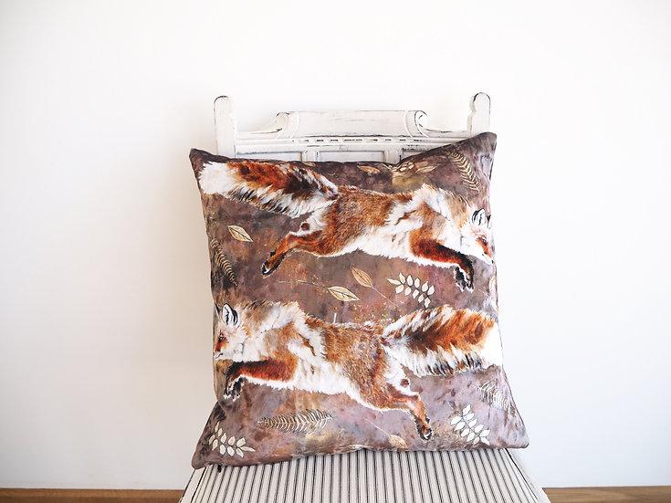 Leaping Fox Velvet Cushion
