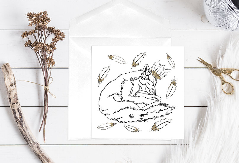 Tribal Fox with Headress Greeting Card
