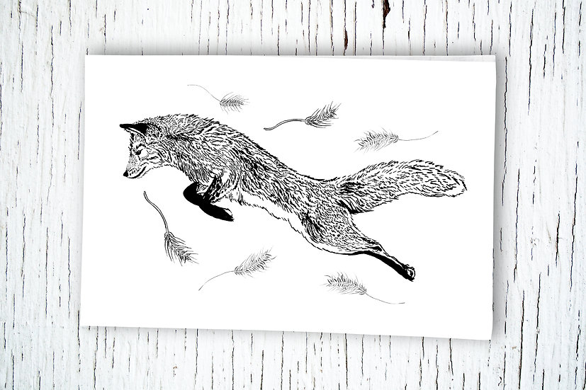 Leaping Fox Cotton Tea Towel