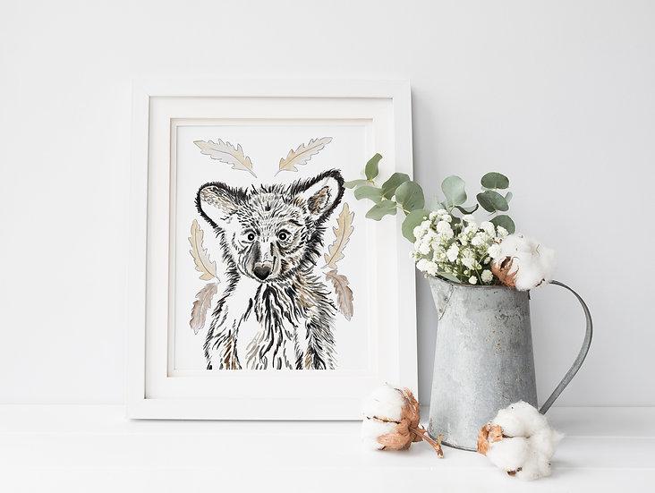 Baby Bear Forest A5 Art Print