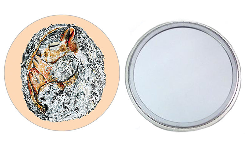 Sleeping Squirrel Pocket Mirror