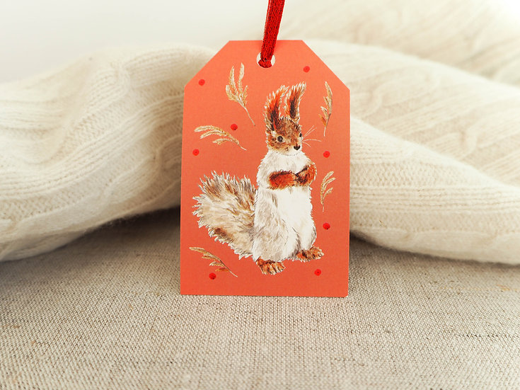 Red Squirrel Gift Tag