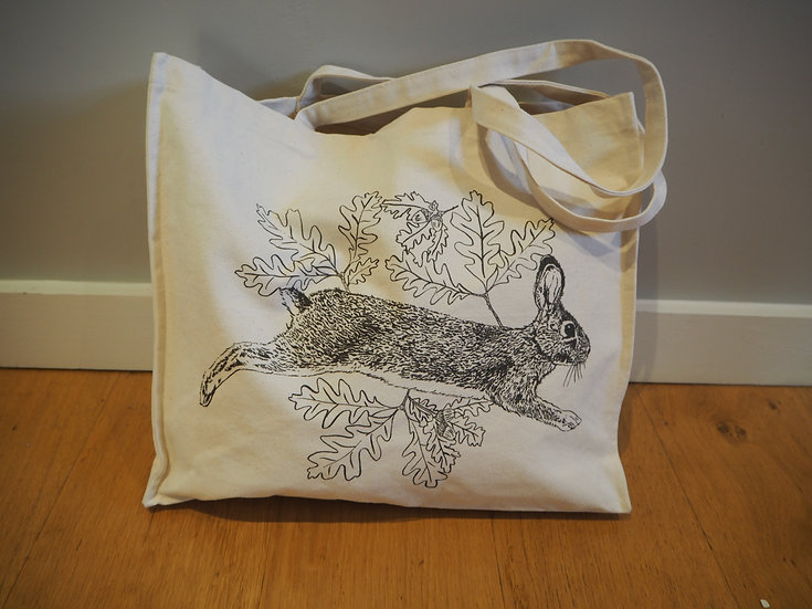 Leaping Rabbit Large Tote Bag