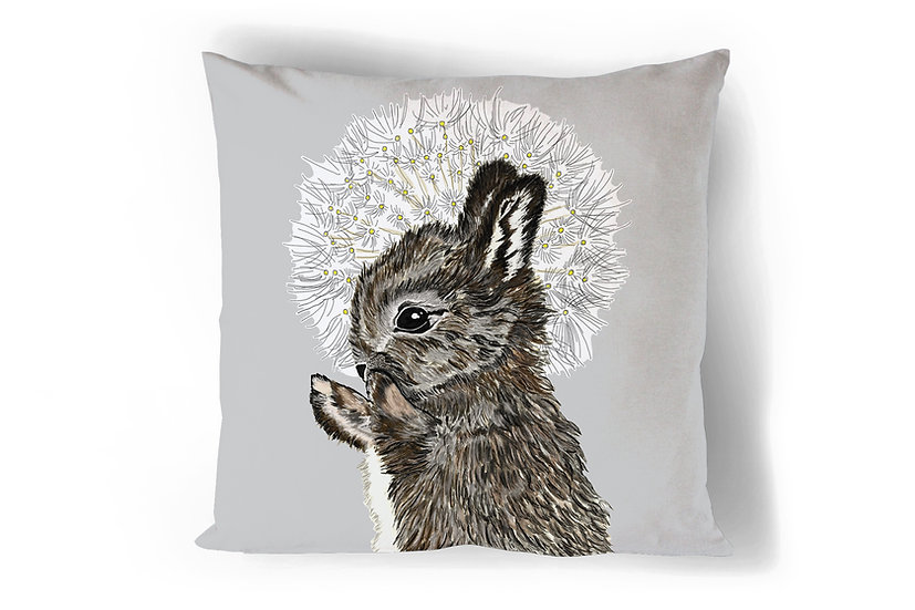 Rabbit and Dandelion Cushion