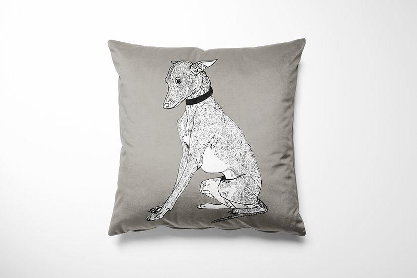 Whippet Velvet Cushion