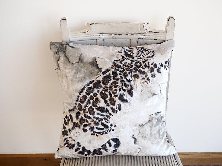 Snow Leopard Luxury Velvet Cushion