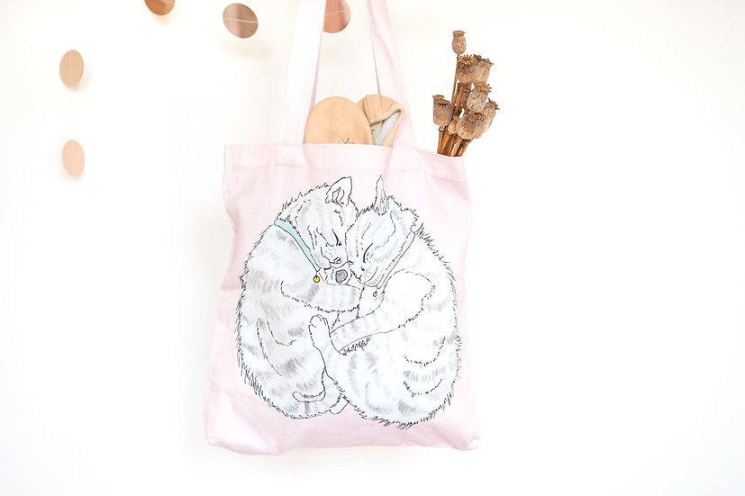 Cuddling Kittens Pink Tote Bag