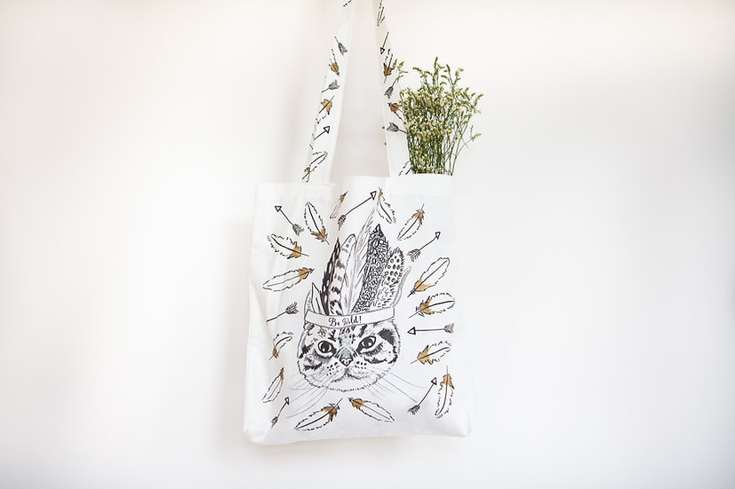 Tribal Tabby Tote Bag