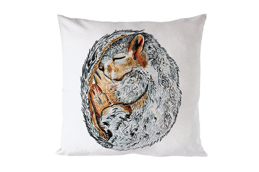 Sleeping Grey Squirrel Cushion