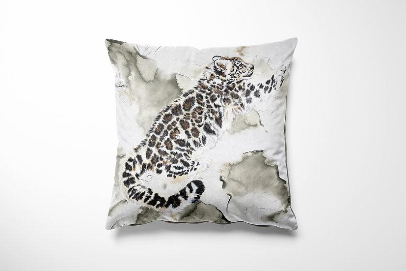 Snow Leopard Velvet Cushion